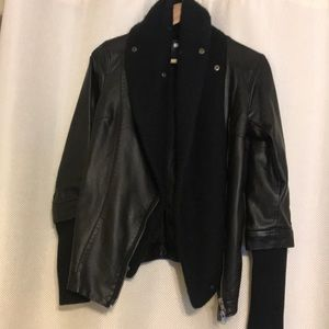 Pleather Moto jacket with faux scarf